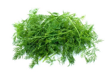 Some fresh green dill isolated on the white background