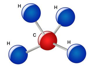 Molecules and atoms of ammonia