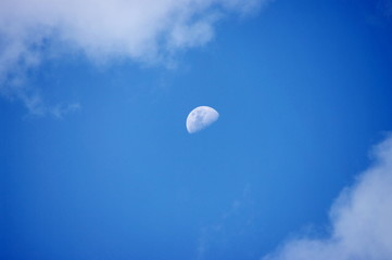 Lune blanche dans le ciel bleu.
