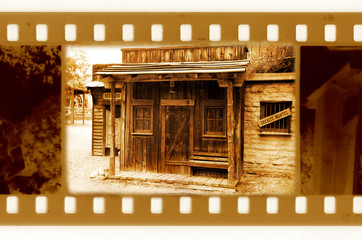old 35mm frame photo with vintage sheriff house