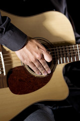 Detail of a guitarplayer playing the guitar