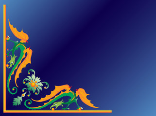 Green dragon on a dark blue background. Vector.