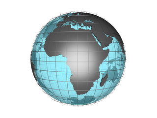 3D model of globe map showing Africa continent isolated on white