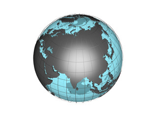 3D model of globe map showing the Asian continent