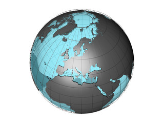 3D model of globe map showing European continent