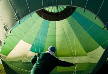 green hat-air balloon
