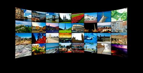 Tv Panels with landmarks around the world .