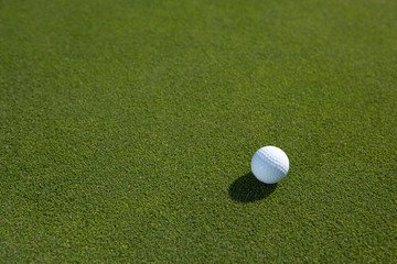 golfball with place for text on green grass