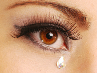 A very sad eye of young woman