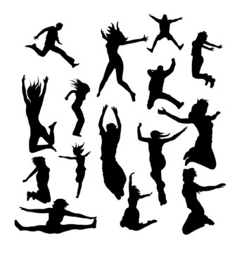 Large set of vector jumping silhouettes