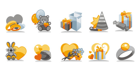 Set of holiday icons - ten illustrations