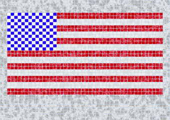 background made from squares Grunge Flag Of USA