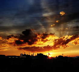 Sonnenuntergang bei Festival