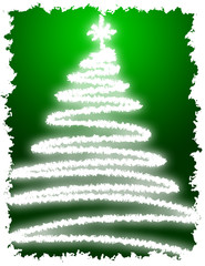 Artistic Christmas Tree with Green Background Gradation
