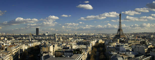 Paris panorama view from the top of the Triumphal Arch