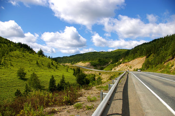 The Mountain road on island Sakhalin by summer.