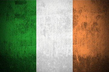 Weathered Flag Of Ireland, fabric textured..