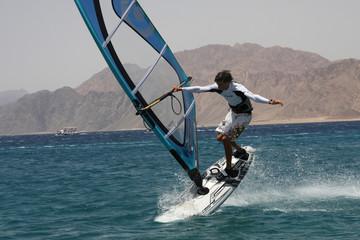 Windserfing in Dahab. Egypt, Red Sea.