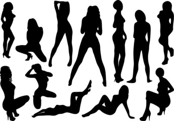 Group of posing models vector illustration
