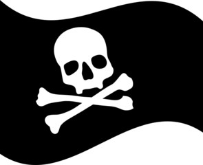 Pirate flag with skull vector illustration
