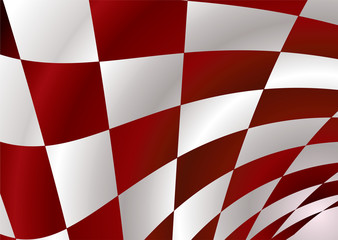 Red and white checker flag bellowing in the wind