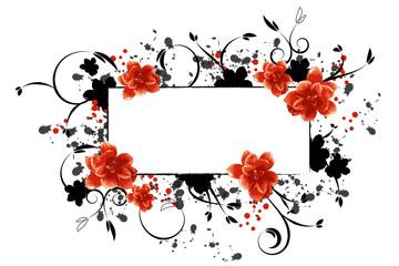 Rahmen mit Blüten in Schwarz, Grau, Rot
