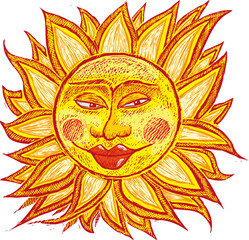 italian ancient sun in old engrave style.