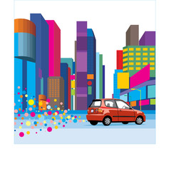 city with car