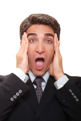 Businessman with a surprised expression