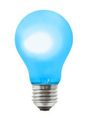 Blue lighting lamp isolated on white background