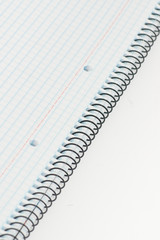 student notebook  on white background
