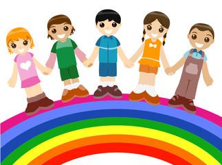 Spoed Foto op Canvas Regenboog Children on Rainbow
