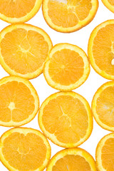 Fresh orange and slices on a white bacground