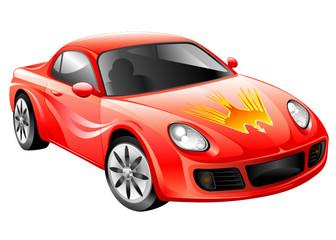 Türaufkleber Schnelle Autos Red Racing car, vector illustration layered.