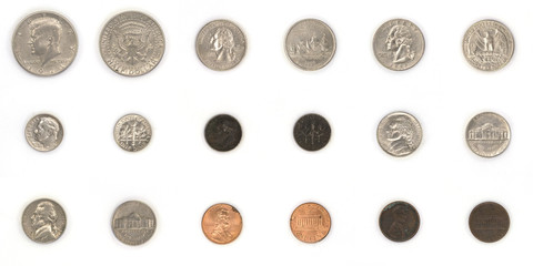 Collection of used american coin currency