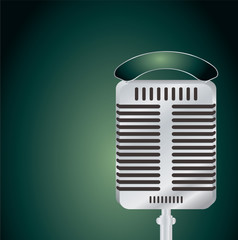 Old fashioned microphone on a green and black background