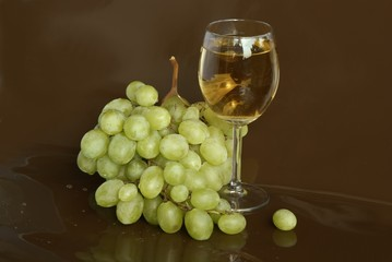 white grapes and wine