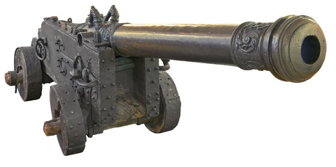 Ancient Swedish cannon isolated over white with clipping path.