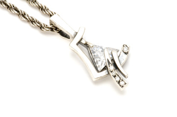 object on white - Silver chain with pendant