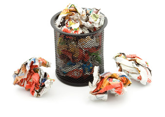 bin full of paper trash studio isolated