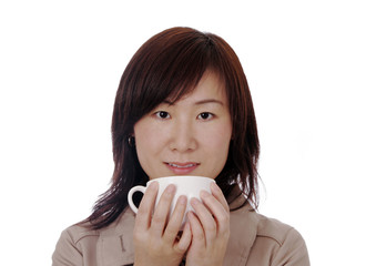Beautiful Young Asian (Chinese) Woman With Coffee Cup