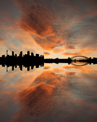 Sydney skyline at sunset with beautiful sky illustration