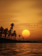 An illustration of a beautiful golden sunset