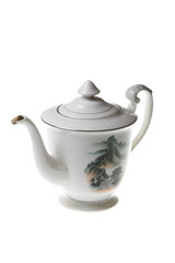 old chinese teapot isolated on the white