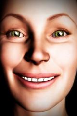 Digital Woman Smiling Face Close up
