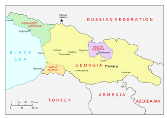 Map of Georgia (Caucasus) and regions