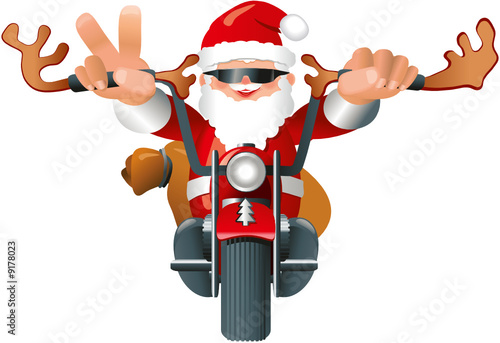 weihnachtsmann auf motorrad mit rentiergeweih stockfotos. Black Bedroom Furniture Sets. Home Design Ideas
