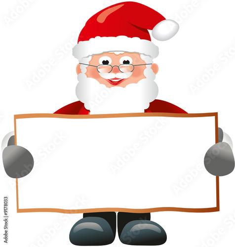 Weihnachtsmann Zeigt Schild Zum Beschriften Stockfotos