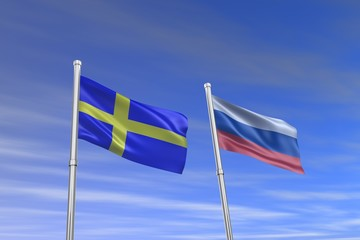 Sweden and rossia flag in the wind