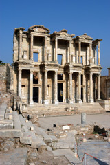 Ancient Celsius library in Ephesus, front facade,Turkey